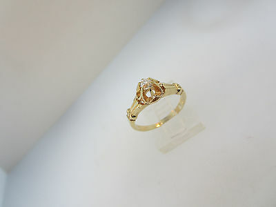 ANTIQUE ESTATE ART NOUVEAU 14k YELLOW GOLD EUROPEAN CUT DIAMOND RING RESTORED