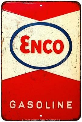 Enco Gasoline Vintage Look Reproduction Metal Sign 8x12 8121683
