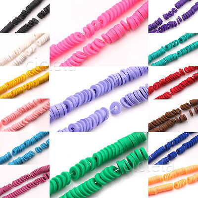 Wholesale 150Pcs Rubber Fimo Clay Mixed Rondelle Round Loose Spacer Beads 5x1mm