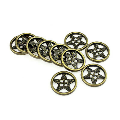 12PCS Metal Round Buttons Five-pointed Star Antique Bronze Four Hole 21mm 34L