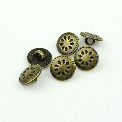 12PCS Round Bronze Metal Floral Carving Shank Buttons Shirt Coat Sewing 13 15 mm