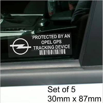 5 x Opel GPS Tracking Device Security Window Stickers-Car Alarm Tracker