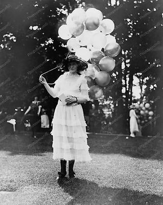 Vintage Lady Holding Balloons 8x10 Reprint Of Old Photo
