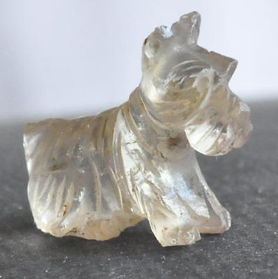 Antique Chinese Rock Quartz Crystal Miniature 15mm Dog Carved Bead Very Detailed