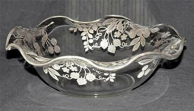 Antique Imperial Glass Large Flared Bowl Sterling Overlay Fruit Leaves 12""