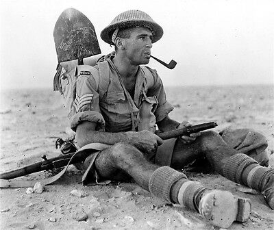WWII B&W Photo New Zealand Soldier with Pipe and  Enfield Rifle  WW2 / 1090
