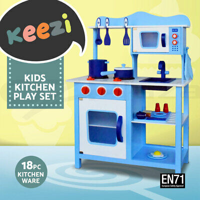 Keezi Kids Wooden Kitchen Pretend Play Set Toy Children Cooking Home Cookware