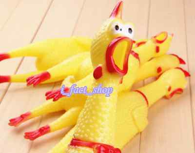 New Screaming Shrilly Yellow Rubber Chicken Pet Dog Toys Boy Kids Sound Toy 17cm