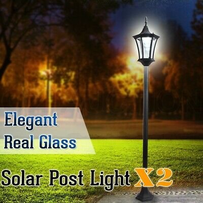 2 x Deluxe Outdoor Solar Power Garden Yard Glass Post Light Path Security Lamp