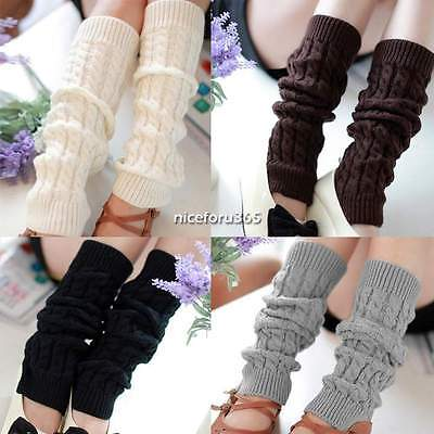 LEG WARMERS Stocking Legging High Knee Wool Knitted Womens Knit Ankle Socks New