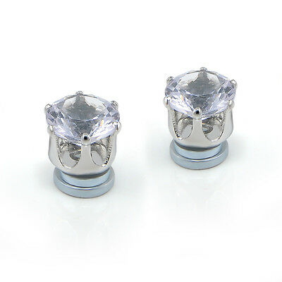1Pair No Piercing Clip on Crystal Magnetic Ear Stud Mens Womens Earrings