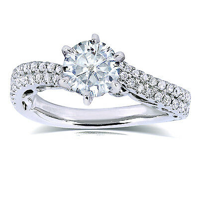 Round Moissanite & Diamond Ring 1 7/8 CTW in 14k White Gold