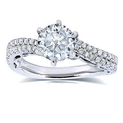 Round Moissanite & Diamond Ring 2 1/3 CTW in 14k White Gold