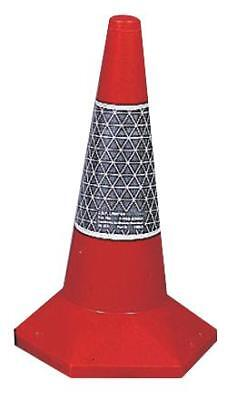 50cm Sand Weighted Traffic Cone, Des 2, Red/Silver