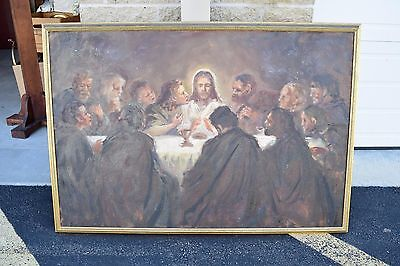 """+Old Painting on Canvas of """"The Last Supper""""+ 45 1'2"""" x 32""""(CA#337) + Chalice co"""