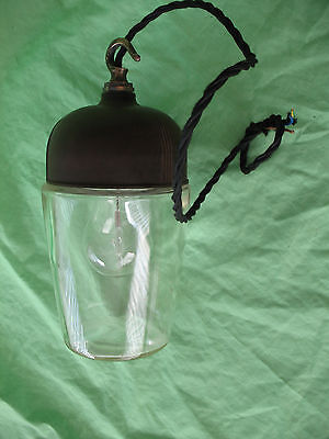 Old antique art deco reclaim industrial bakelite & glass ceiling pendant LOBLITE