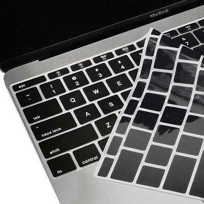 """Black Keyboard Cover Silicone Skin for New Macbook 12"""" with Retina Model A1534"""