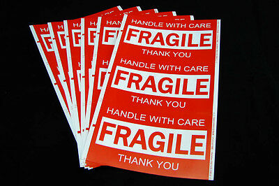 180x Fragile Handle With Care Thank You Adhesive Label 127x76mm Sticker Sheet