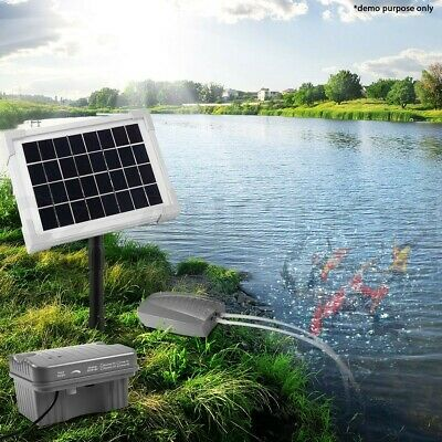 Solar Powered Air Pump Pond Oxygenation Oxygenator Pump Kit 5W Battery Operated