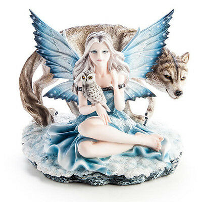Fairy Figurine with Wolf and Owl Animal Classic Vintage Charm Beauty Fairies