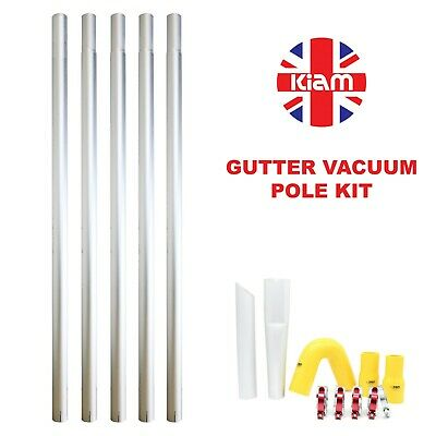 20ft 6m Long Reach Gutter Vacuum Pole Kit Set Drain Hoover Cleaning System