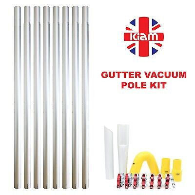32ft 9.6m Long Reach Gutter Vacuum Pole Kit Set Drain Hoover Cleaning System