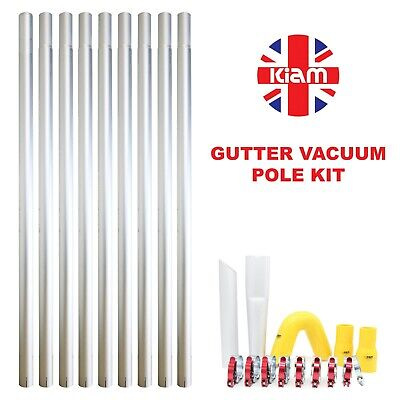 36ft 10.8m Long Reach Gutter Vacuum Pole Kit Set Drain Hoover Cleaning System
