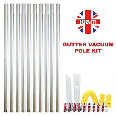 40ft 12m Long Reach Gutter Vacuum Pole Kit Set Drain Hoover Cleaning System
