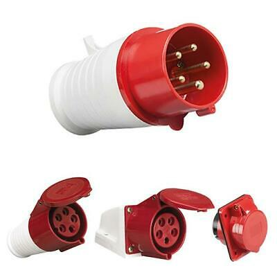 Red 415V 16 Amp 5 Pin Industrial Plug & Sockets Set Ip44 3 Phase Male/Female