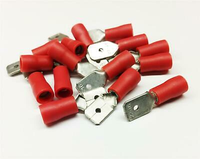100x Red Male Spade Crimp Terminal Insulated Connectors Electrical Audio Wiring