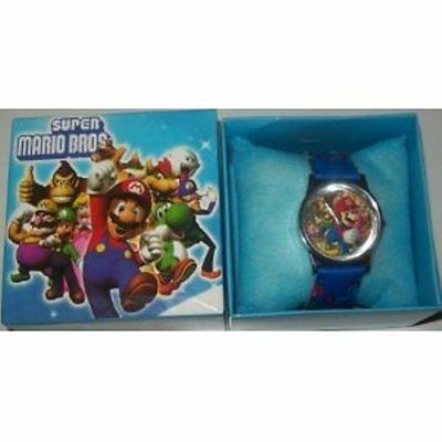 Super Mario Bros Boxed Wrist Watch Blue Kids Boys Childs Toy Gift Box Uk Seller