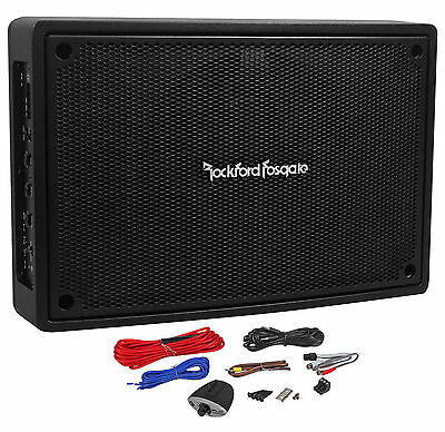"Rockford Fosgate PS-8 8"" 150w Powered Slim Underseat Car Subwoofer Enclosure Box"