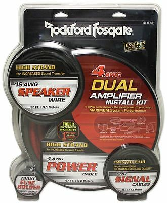 Rockford Fosgate RFK4D 4/8 Gauge Dual Amplifier Install Kit Oxygen Free Copper