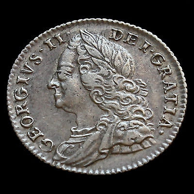 1757 George II Early Milled Silver Sixpence - GVF