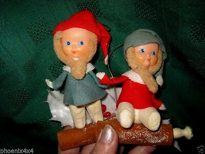 Two Vintage Japan Red And Green Leprechaun Elves Pixie Gnomes Doll Ornaments