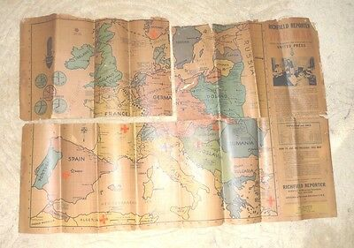 Vintage Cartoon Map Europe War Map 1939 Richfield Reporter Zepplin Base Wwii