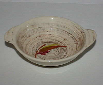 Lugged Cereal Bowl Vernonware Trade Winds Metlox Brown Green Red Leaves