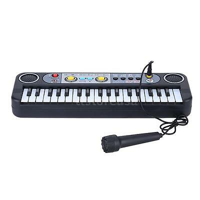 37 Keys Mini Electronic Keyboard Gift for Children with Microphone Black 7R3B