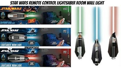 Star Wars LIGHTSABER WALL LIGHT Remote Control Set  Bed Room Bedding Decor Night