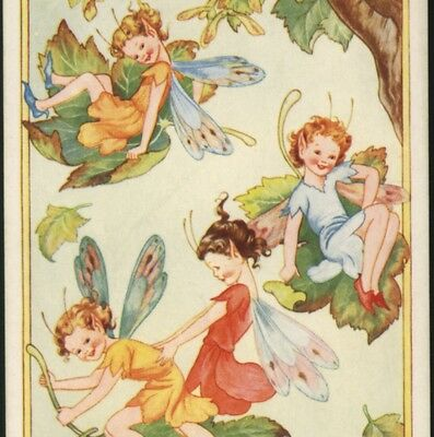 """""""autumn Frolics"""" Fairies,fairy Ride Falling Leaves,gladys Checkley,old Postcard"""