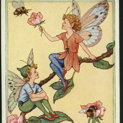 """""""rosebud Fairies"""" Fairy Holds Blossom For Bumble Bee,gladys Checkley,postcard"""