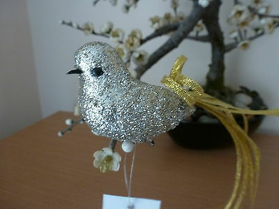 Gisela Graham Silver Glitter Bird with Gold Ribbon Tail (8cms) Christmas/wedding