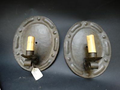 Antique Folk Art Arts and Crafts Hand hammered Copper Sconces Pair 1920's