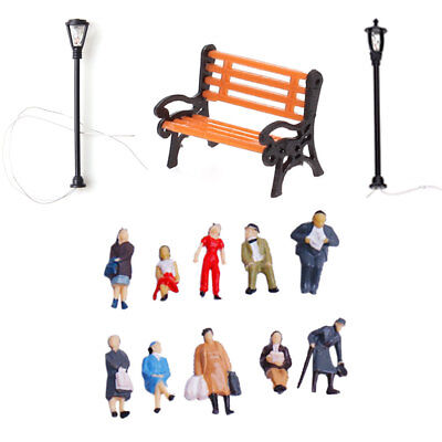 24 PEOPLE FIGURES 5 BENCH 20 Lamppost LIGHTS Model Train Park Scenery HO Scale