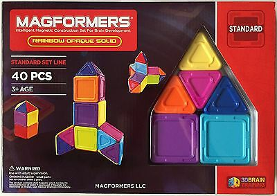 Magformers 40 Pcs Rainbow Opaque Solid Magnetic Construction Set 65012 NEW