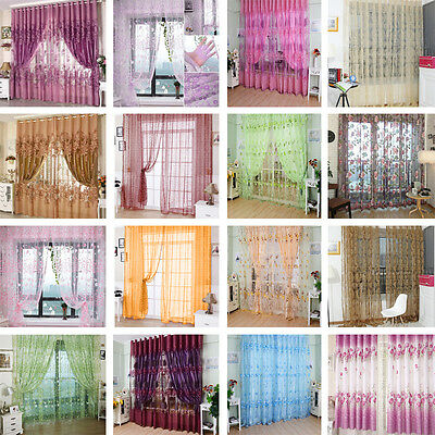 Modern Flower Tulle Door Window Curtain Drape Panel Sheer Scarf Valances Diveder