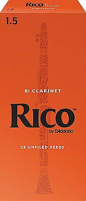 Rico by D'addario Bb Clarinet Reeds 1.5 Box Of 25  RCA2515