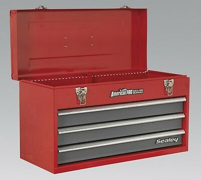Sealey Tool Chest 3 Drawer Portable Ball Bearing Runners Red Grey Storage Box