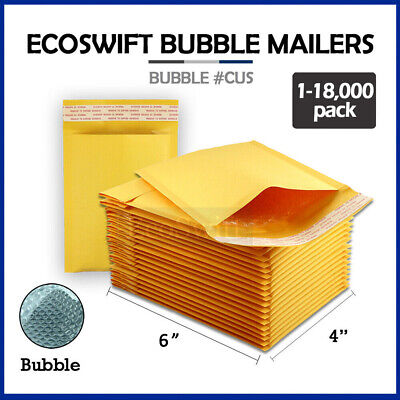"1-18000 #0000 4x6 ""EcoSwift"" Small Kraft Bubble Mailer Padded Envelope Bag 4 x 6"
