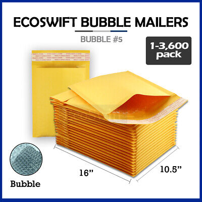 "1-3600 #5 10.5x16 ""EcoSwift"" Kraft Bubble Mailers Padded Envelope Bags 10.5 x 16"